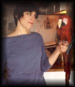Hanna with Ruben, the Green-Wing Macaw, owned by client, J.Wolfe.